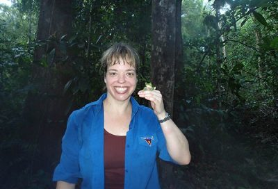 Perhaps the most photogenic individual ever- a Helen's Flying Frog (Rhacophorus helenae)- with a very sweaty me.